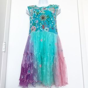 Antica Sartoria Lace, Beads, Embroidery Boho Dress